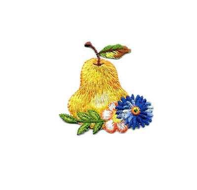 Pear - Fruit - Country - Wild Flowers - Embroidered Iron On Applique Patch