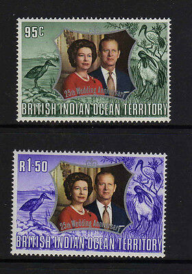 B.i.o.t.1972 Royal Silver Wedding Sg 45-46 Mnh.