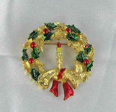 Gerry's Signed Xmas Pin Christmas Wreath Book Piece!!  green red gold tone bow