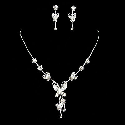 Twinkling Butterfly Flower Bridal Wedding Austrian Crystal Necklace Earrings Set