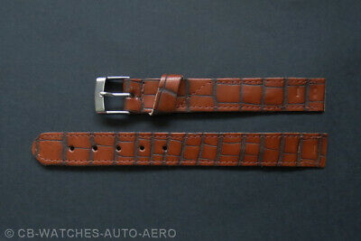 Quality Brown Croc Leather Vintage Style Open-Ended Watch Strap 16mm 18mm 20mm