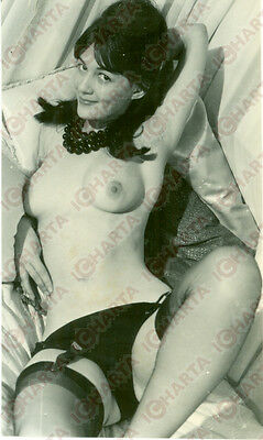 1965 ca EROTICA VINTAGE Young naked girl in black lingerie * REAL PHOTO
