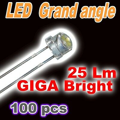 402/100# Ultra LED 5mm blanc  Grand angle 25lm garanti !! 100pcs LED blanche