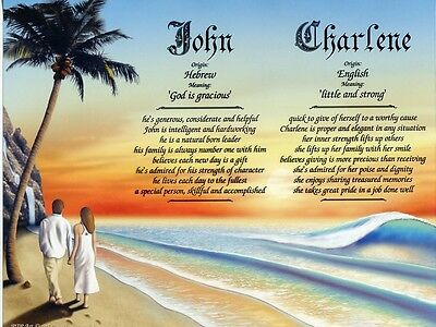 """Couple on Beach 1"" Double Name Meaning Print Personalized (Love Romance)"