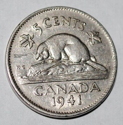 Canada 1941 5 Cents George VI Canadian Nickel
