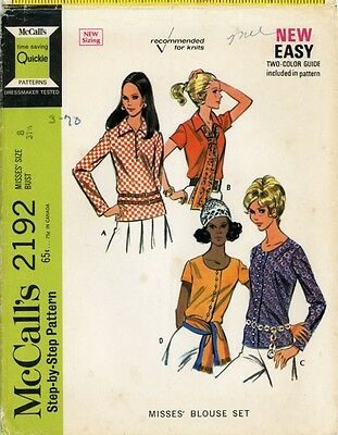McCall's 2192 Misses 1960s Top Blouse pattern size 8
