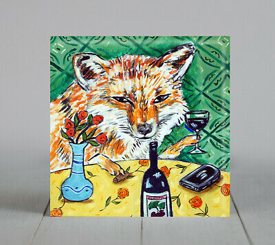 fox at the wine bar ANIMAL ceramic coaster art tile gifts