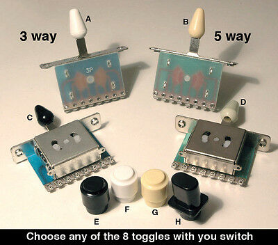 3 Way & 5 way Lever Selector Switch & choice of toggle E3 E4