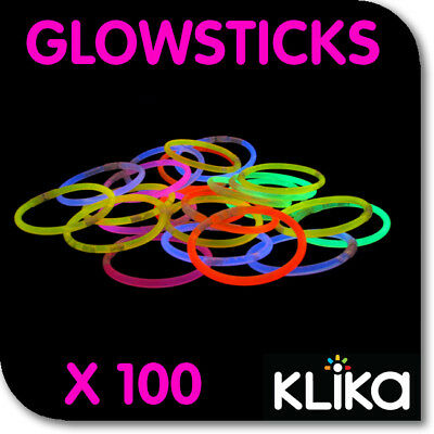 100 Coloured Glow Light Sticks Party Glowsticks Bracelets In The Dark