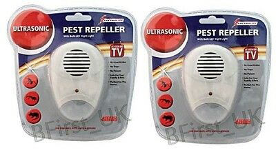 2 Ultrasonic Plug In Pest Repeller & Night Light Mouse Mice Rat Spider Insects
