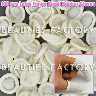 100PCS Latex Nail Art Rubber Gloves Emulsion Finger Protector Cots Cover #550