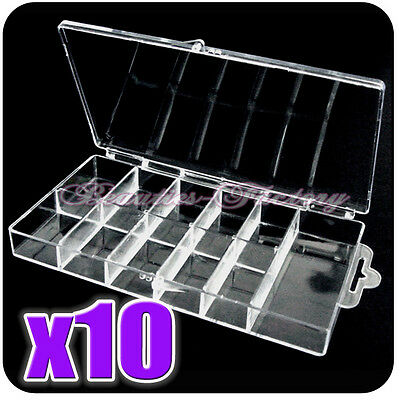 10PCS Empty Storage Case Box 11 Cells FOR Nail Art Tips Gems Rhinestone Bead 224