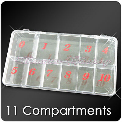BF Empty Storage Case Box 11 Cells 4 Nail Art Tips Gems Rhinestones Beads 363B