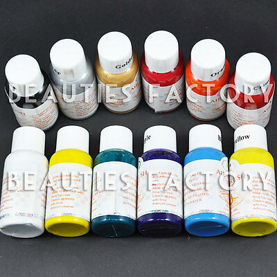 12 colours Airbrush Paint Nail Art Painting Airbrush Ink Fingernail Polish 109N