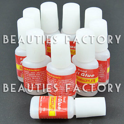 10pcs NAIL ART GLUE W/ BRUSH ON STRONG ADHESIVE FAKE ACRYLIC FALSE TIPS GEM #57