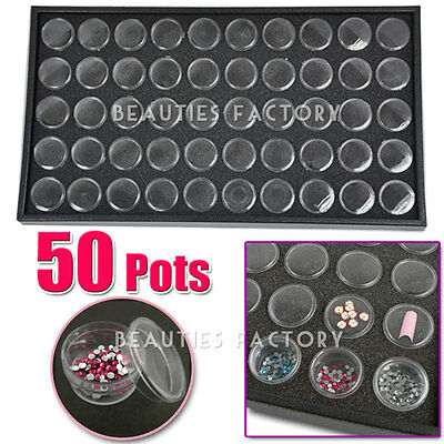 50 Pots Nail Art Tips Decoration Display Tray Storage Box Case Cosmetic Tool 361