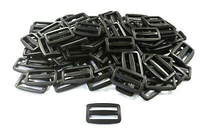 38/40mm Black Plastic 3 Bar Slides For Webbing Straps Bag Craft x10 x25 x50 x100