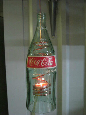 COCA COLA 32 OZ-VOTIVE HANGING CANDLE-1 QT GLASS BOTTLE FROM THE 70'S-REDUCED