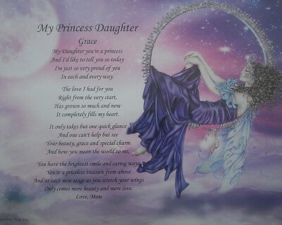 MY PRINCESS DAUGHTER PERSONALIZED POEM BIRTHDAY PRESENT OR CHRISTMAS GIFT IDEA