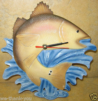 "New Resin Red Drum Fish Clock About 8"" Accross"