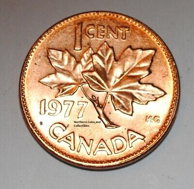 1977 1 Cent Canada Copper Nice Uncirculated Canadian Penny