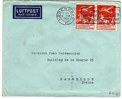 Lettre Poste Aerienne Danemark Aviation  Copenhague Marseille
