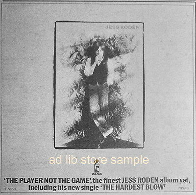JESS RODEN - THE PLAYER NOT THE GAME, SMALL UK AD 1977/ADVERT