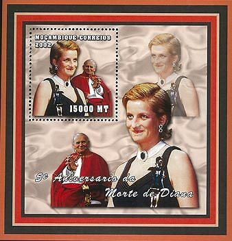 Mozambique 2002 Stamp, MOZ2103B Princess Diana, Important People S/S 5