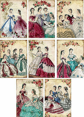 Vintage inspired victorian women note Cards set of 8 with envelopes
