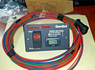 Onan 12 Volt  Remote Start Switch Hour Meter  With  25' Harness 8-Pin Plug New