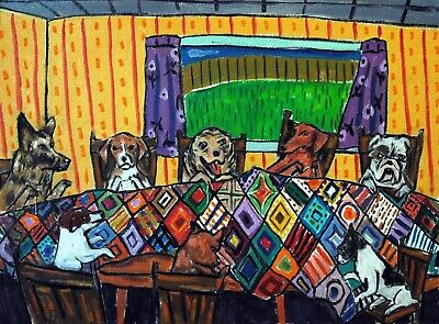DOgs QUilting picture 11x14 signed art print animals impressionism artist gift n