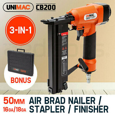 NEW UNIMAC 3in1 Air Brad Nail Gun Stapler Finish Nailer Pneumatic Finishing
