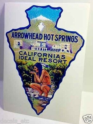 Arrowhead Hot Springs Vintage Style Travel Decal / Vinyl Sticker, Luggage Label