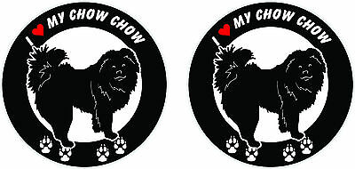 "(2) I love my Chow Chow dog ROUND bumper vinyl stickers decals 4"" x 4"" #A"
