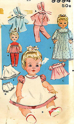 Vintage Doll Clothes PATTERN 9994 for 20 in Betsy Wetsy by Ideal