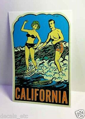 California Surfing Vintage Style Travel Decal / Vinyl Sticker, Luggage Label