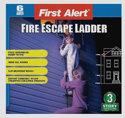 New 24' FIRST ALERT 3 Story Fire Escape Ladder Slip Resistant 1125 lbs EL53W-2