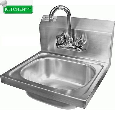 "Extra Wide Wall Mount 20""x17"" Hand Sink. 7-3/4"" Deep (No Lead Faucet)"