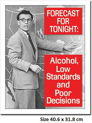 Tonights Forecast Alcohol Low Standards & Decisions 1718 Tin Sign Made in USA