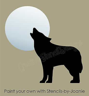 Wolf STENCIL Southwest Coyote Howling Full Moon Country Lodge Rustic Outdoor