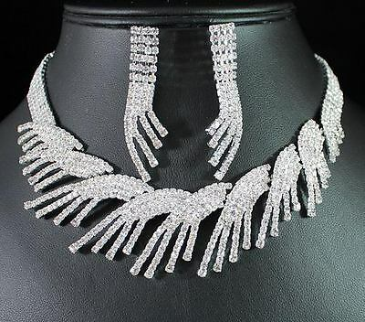 Beautiful Clear Austrian Rhinestone Crystal Necklace Earrings Set Bridal N1275