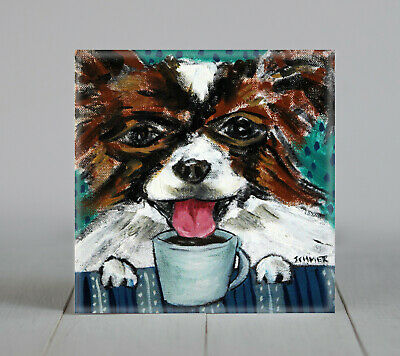 PAPILLON at the coffee shop gift ceramic dog art tile coaster artwork gift