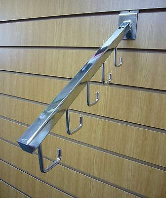 CHROME SLATWALL 5 HOOK ARM FOR DISPLAYING BAGS Pack of 10