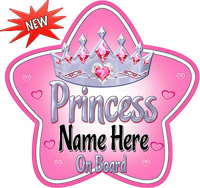 Black//Go Personalised Nanny/'s Princess Star Shaped Baby On Board Car Sign ~ New