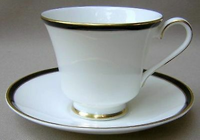 Minton Saturn Black Footed Cup & Saucer Set