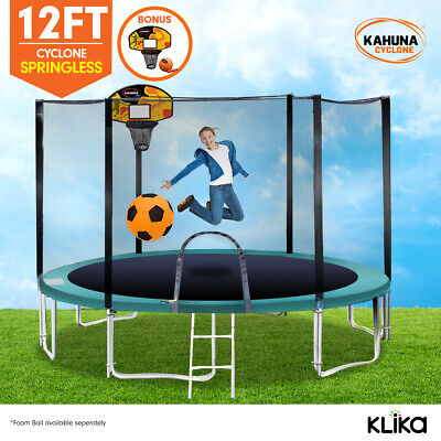 12ft 12-POST SPRINGLESS TRAMPOLINE FREE SAFETY NET+PAD+MAT+LADDER+BASKETBALL SET
