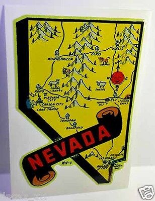 Nevada Vintage Style Travel Decal / Vinyl Sticker, Luggage Label
