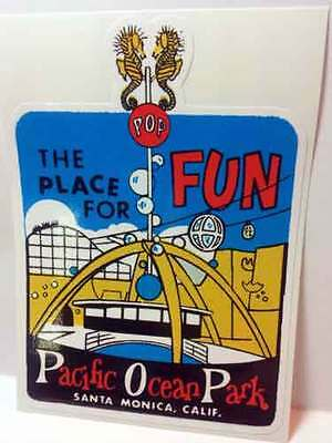 Pacific Ocean Park CA Vintage Style Travel Decal / Vinyl Sticker, Luggage Label