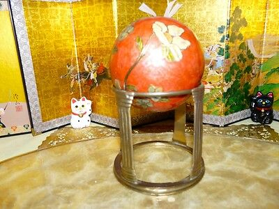 BEAUTIFUL Large Cloisonne Ball on Brass Stand  Colorful and Bright