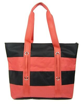 BEACH bag tote striped reusable grocery ZIPPERED summer shopping CORAL PINK BLK